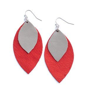 Ruby Red & Taupe Leather Leaf Shape Earrings